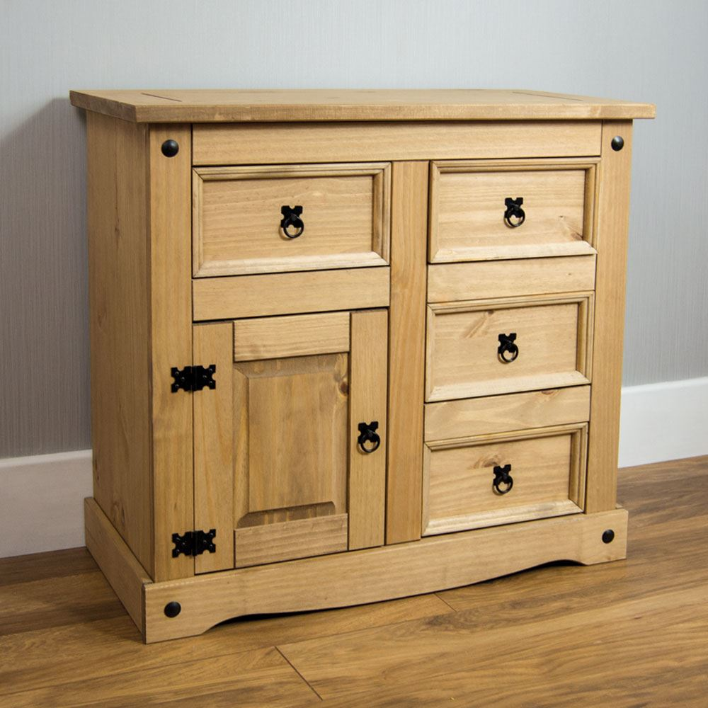 Corona Small Sideboard 1 Door 4 Drawer Solid Pine Furniture By Home