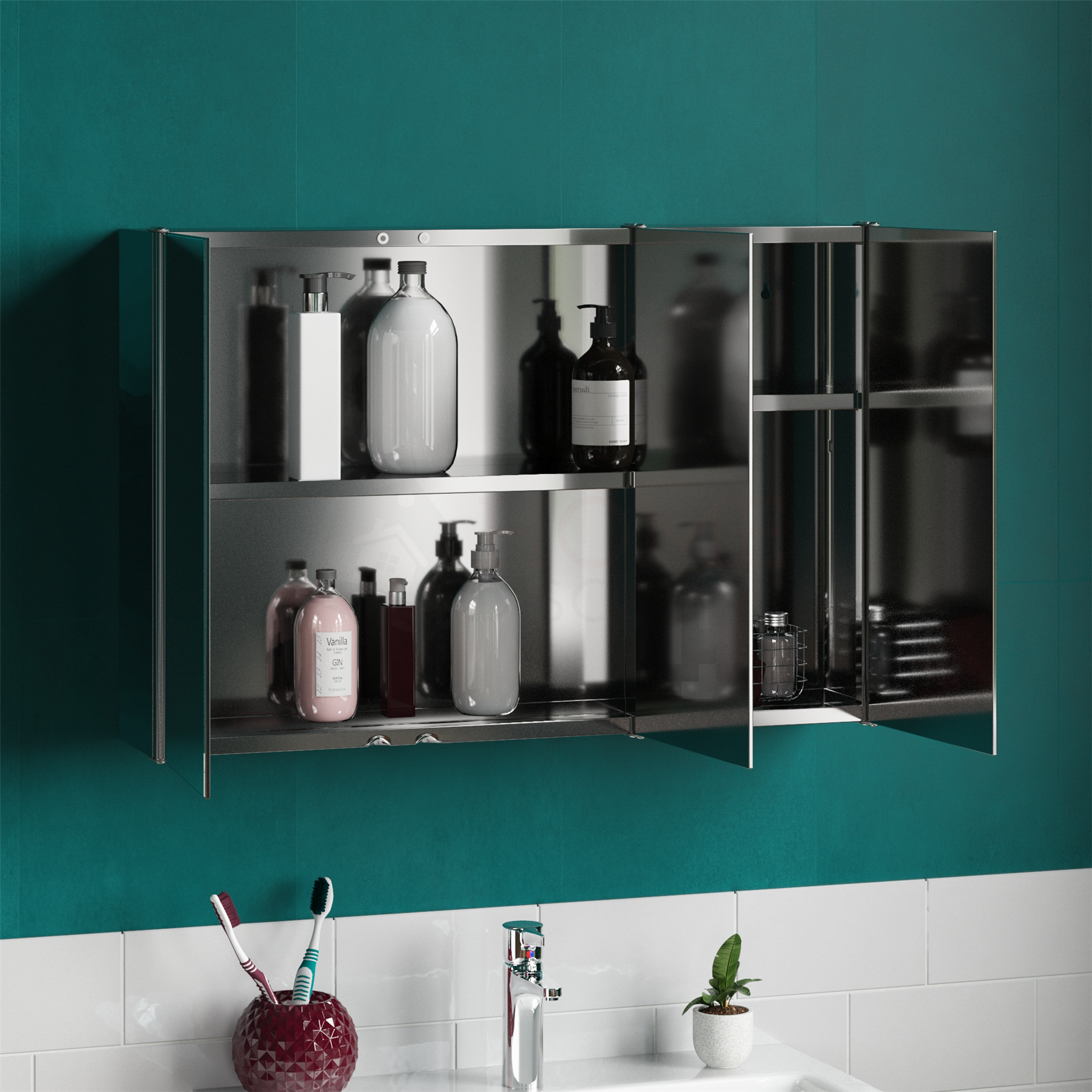 Bathroom-Cabinet-Double-Triple-Door-Wall-Mounted-Mirror-Storage-Stainless-Steel thumbnail 13