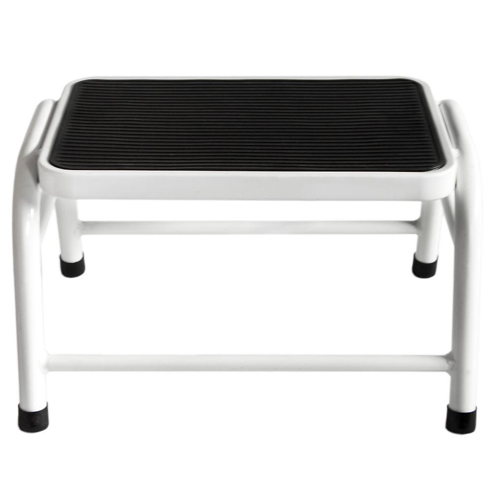 One Step Stool Compact White Black Silver Anti Slip Grip