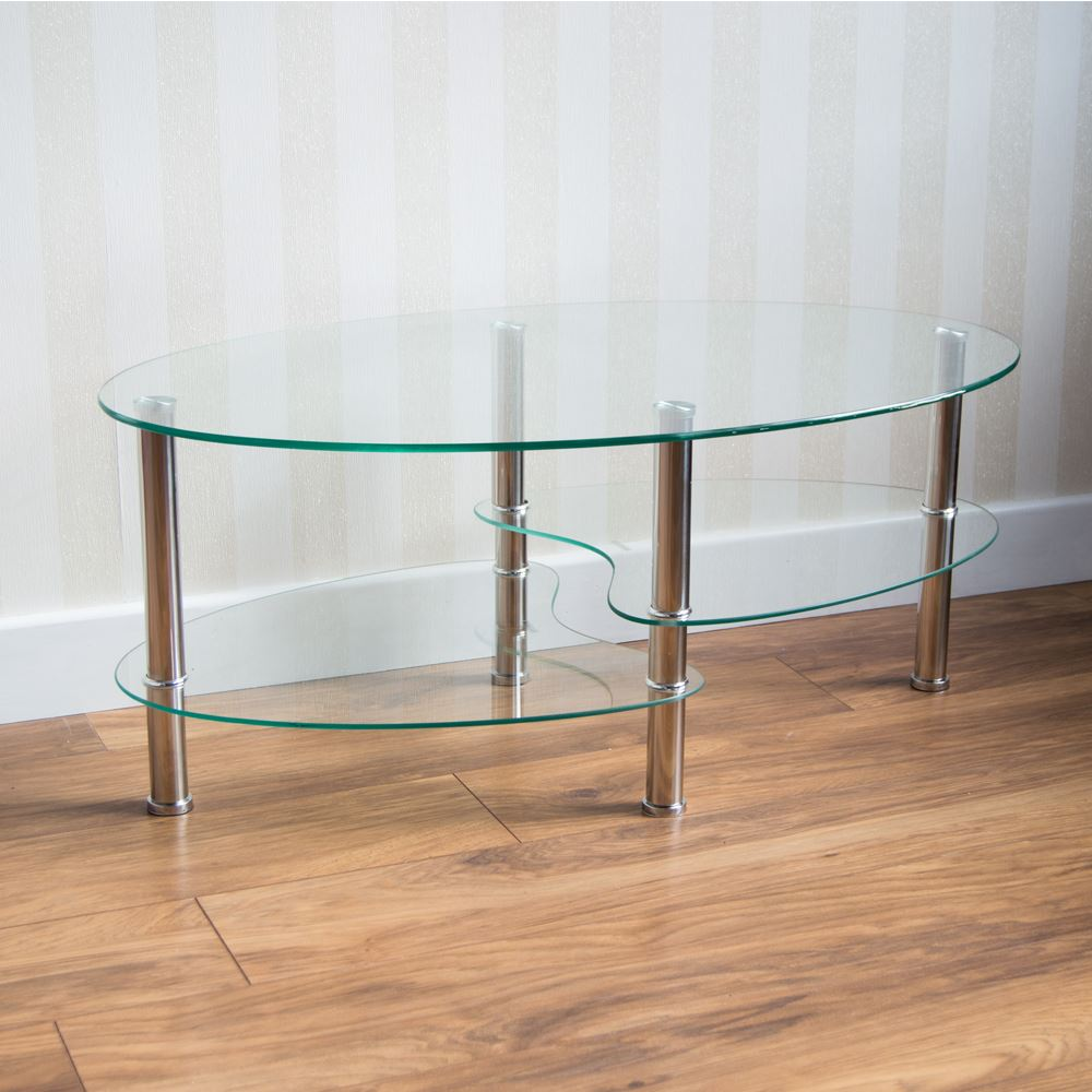 Oval Coffee Table With Metal Legs: Cara Furniture Range Coffee Table Nest Of 3 Tables Glass