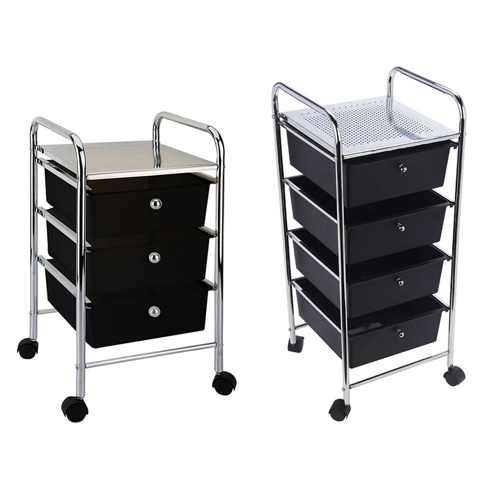 Ellegant Portable Kitchen Cabinet: 3 4 Drawer Trolley Black Cart Storage Portable Rack Chrome