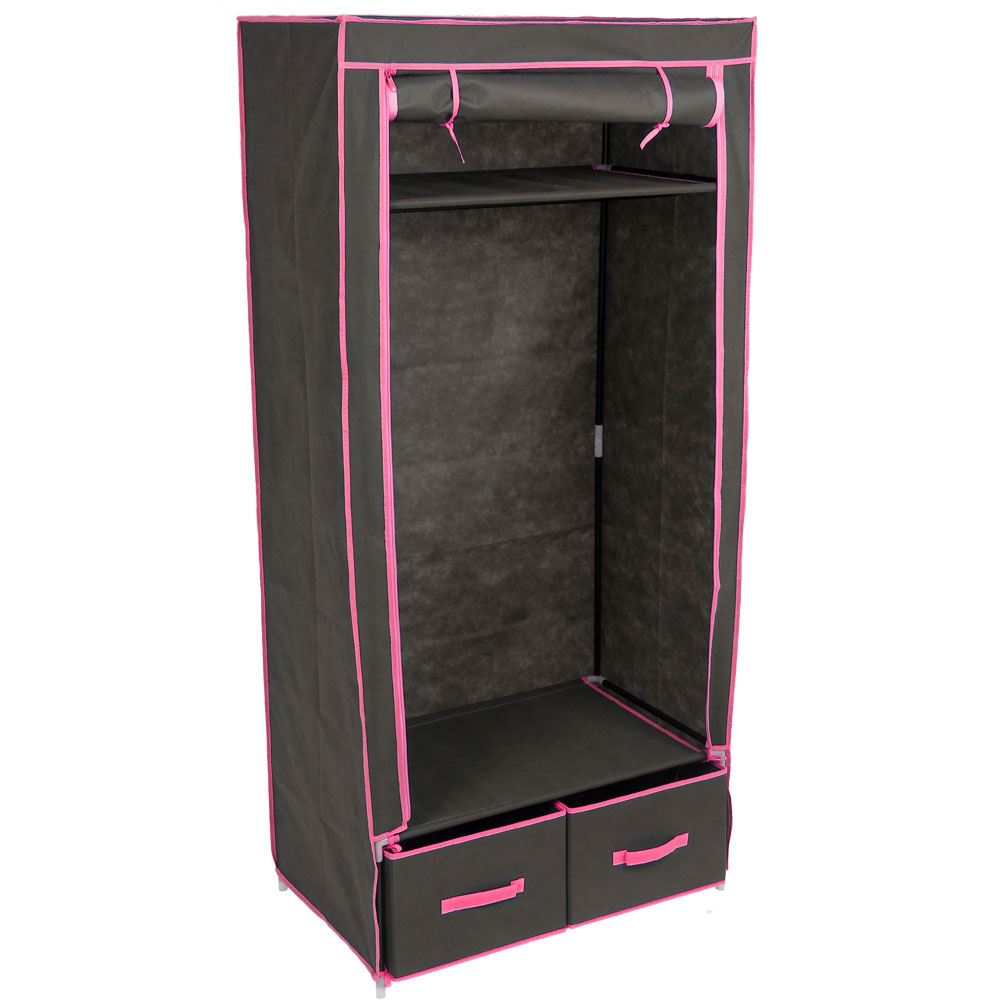 double wardrobe coloured canvas rail bedroom storage clothes cupboard organiser ebay. Black Bedroom Furniture Sets. Home Design Ideas