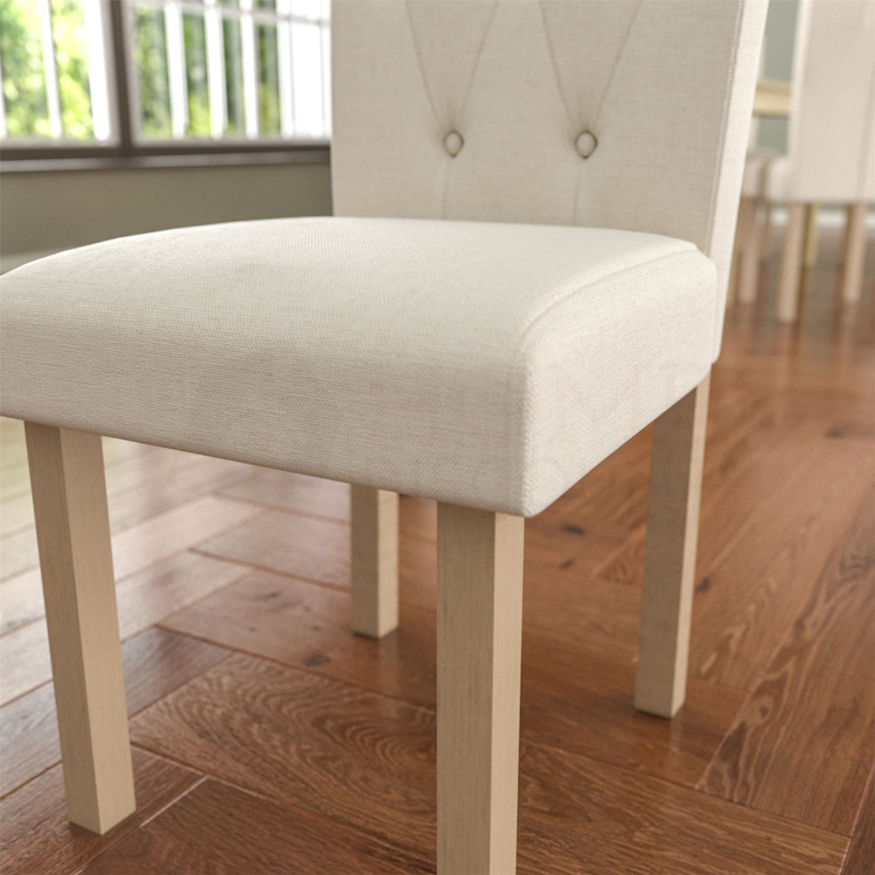 Set Of 4 Country Cream Dining Chairs: Dining Table & 4 Chairs Fabric Seat Kitchen Dining Room
