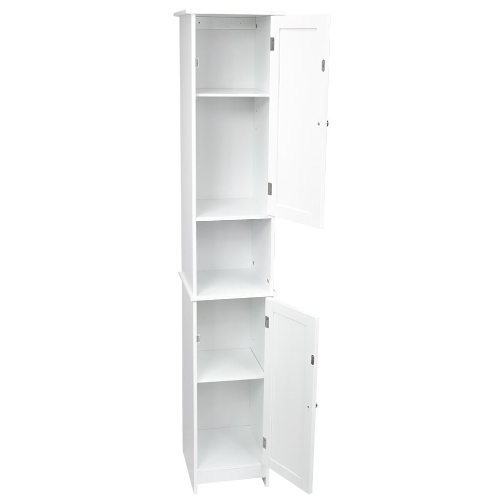 Priano Bathroom Tall Cabinet Double Doors Cupboard Storage Unit Furniture White