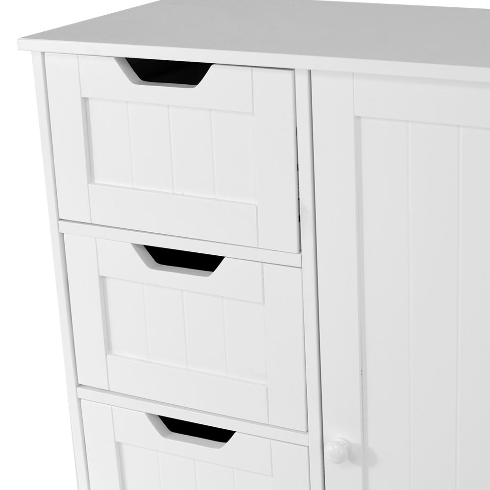 Bathroom 4 drawer cabinet door storage cupboard wooden white by home discount ebay for Cheap bathroom storage cabinets