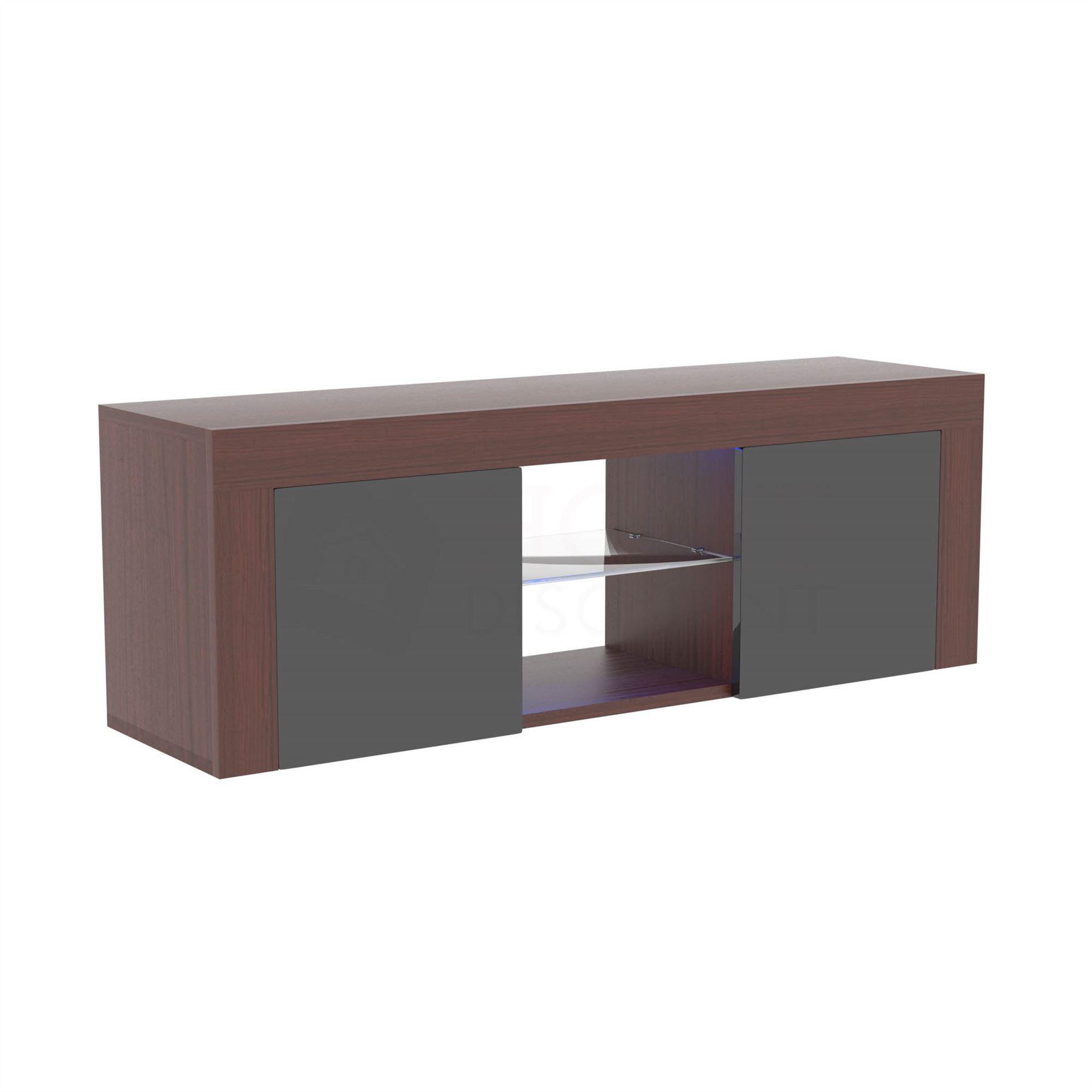 Eclipse LED TV Stand Cabinet Unit 2 Door Matte Gloss MDF