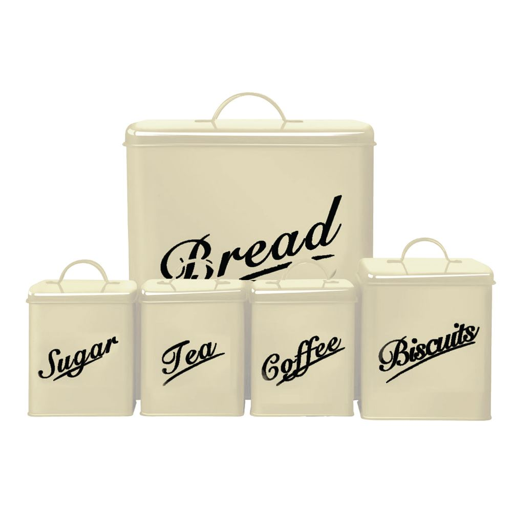 Denny International® 5 Piece Kitchen Storage Includes Bread Bin Biscuit Tea Coffee Sugar Caddy Tins Containers Canister Storage Jars Pots Set Cream