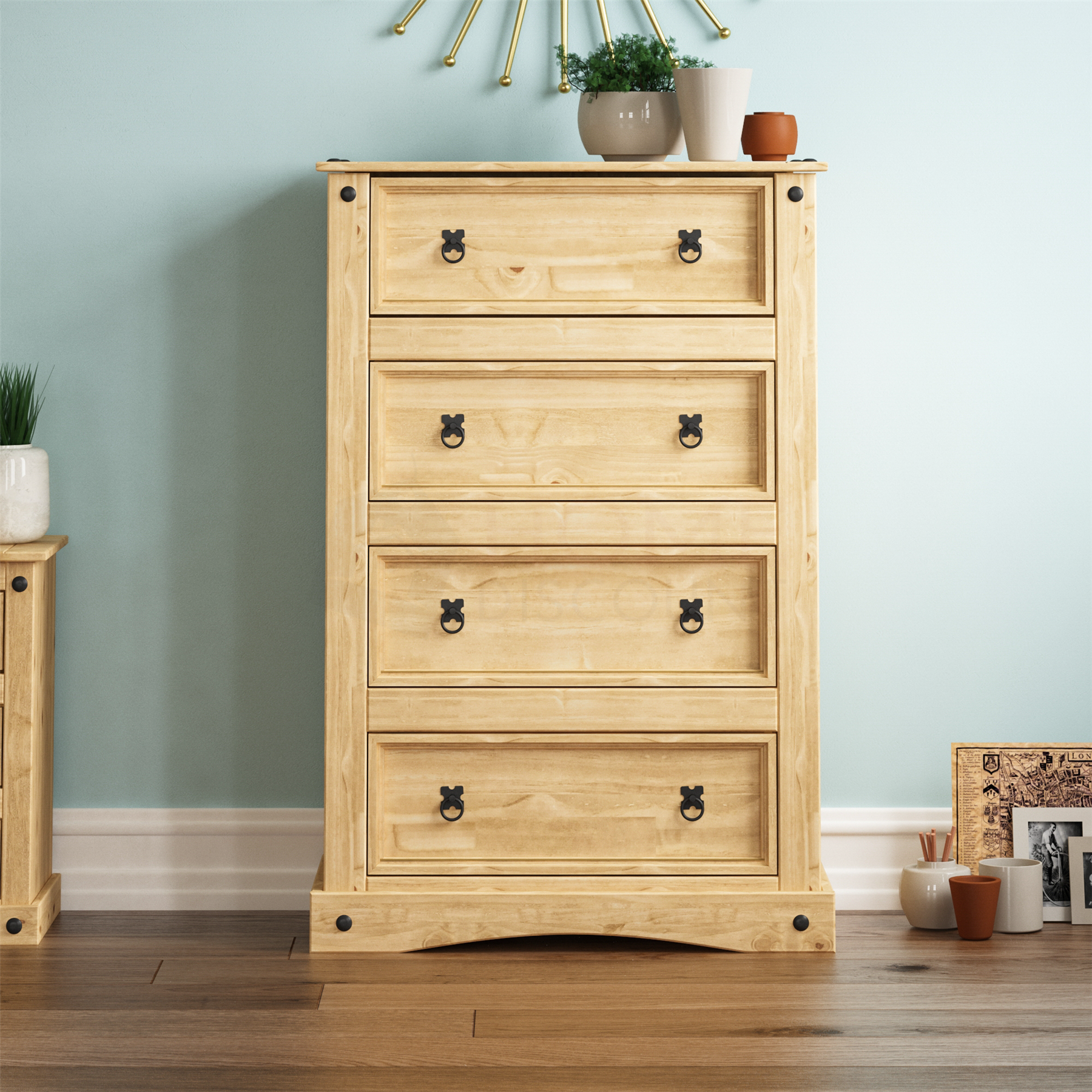 Corona Drawer Narrow Chest Mexican Solid Waxed Pine Storage Bedroom Furniture