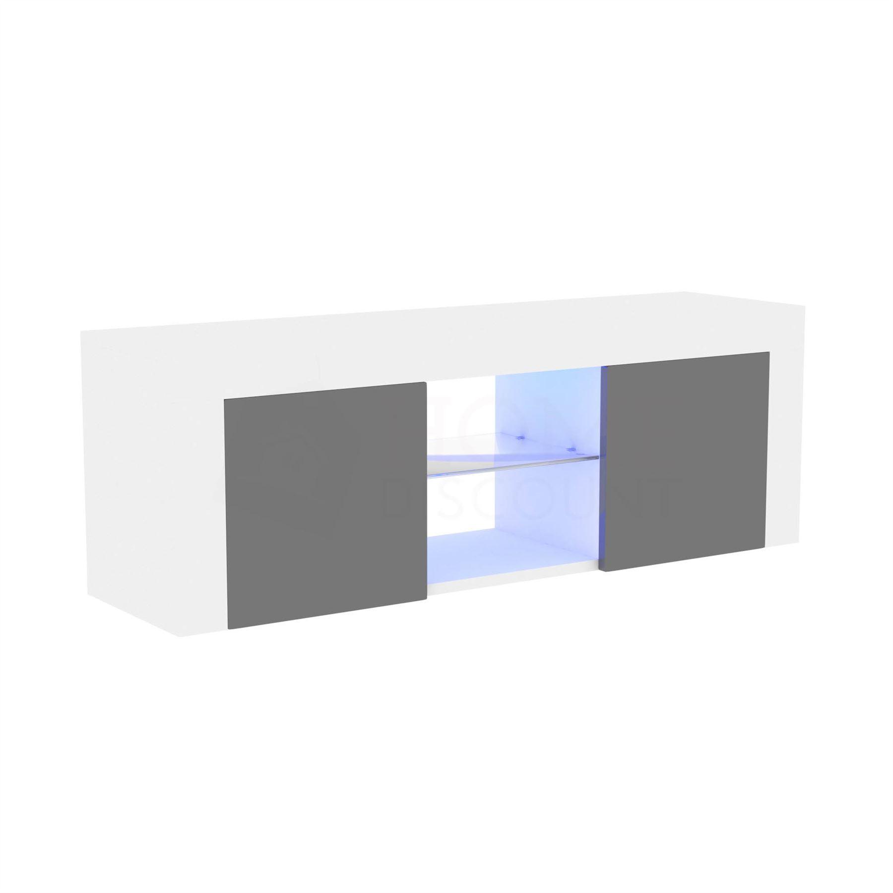 thumbnail 55 - Modern White TV Unit Cabinet Stand Matt body and High Gloss Doors LED Lights