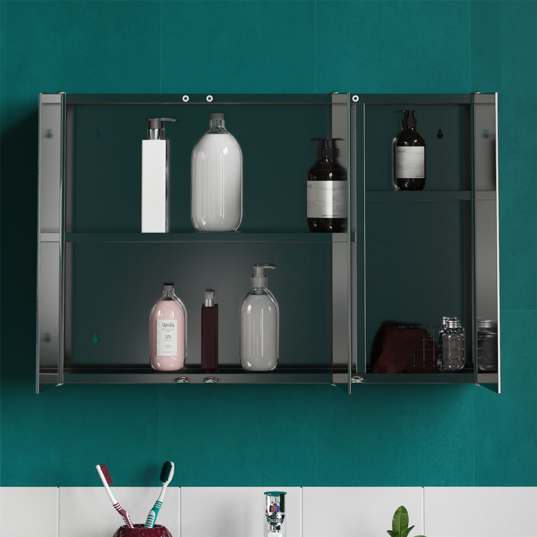 Bathroom-Cabinet-Double-Triple-Door-Wall-Mounted-Mirror-Storage-Stainless-Steel thumbnail 14