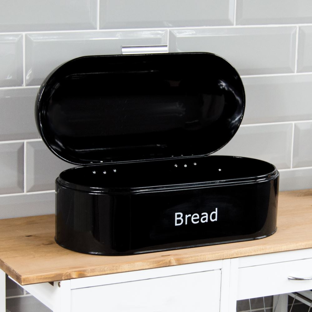 Bread-Bin-Retro-Curved-Mirrored-Steel-Kitchen-Loaf-Food-Storage-Container thumbnail 26