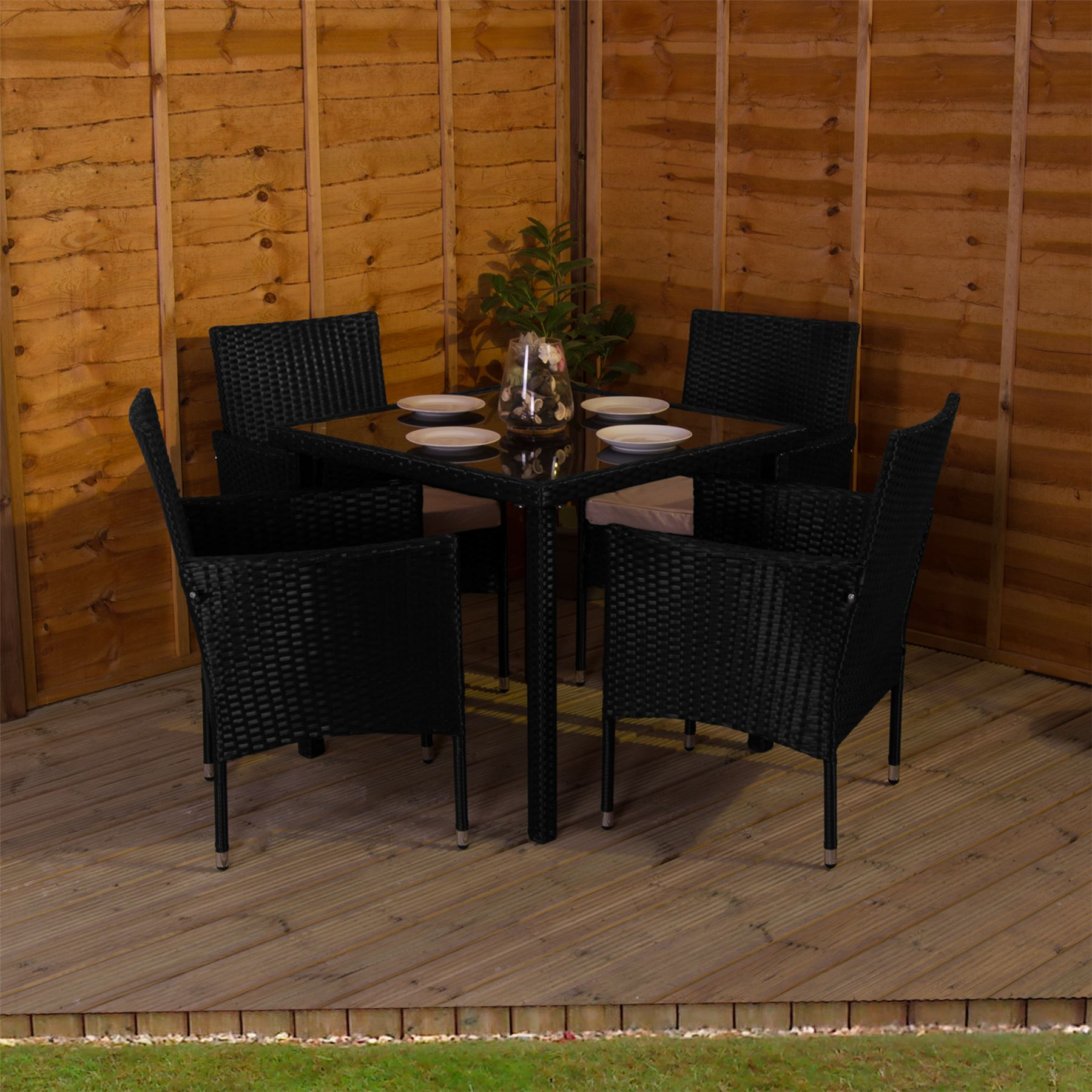 Malpas Garden Rattan Furniture 4 Seater Dining Set Outdoor Table ...
