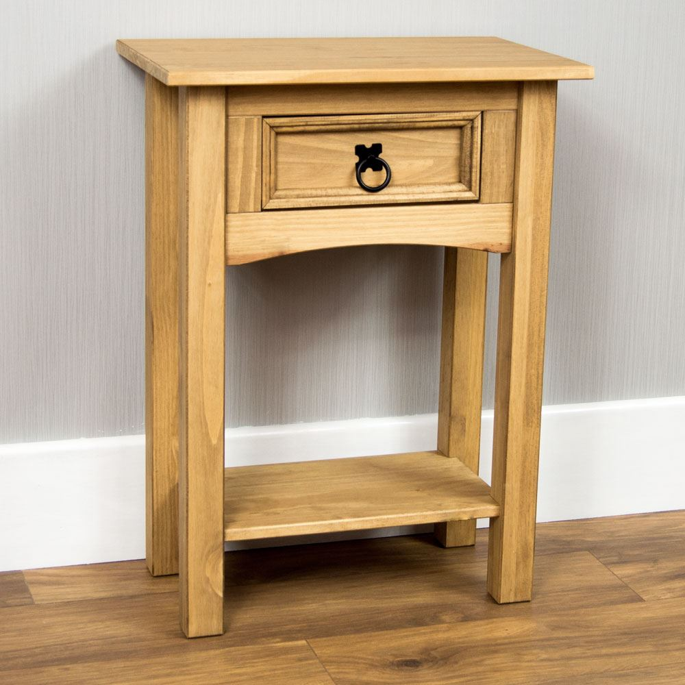 Corona console tables 1 2 3 drawer shelf solid pine wood Wooden hallway furniture