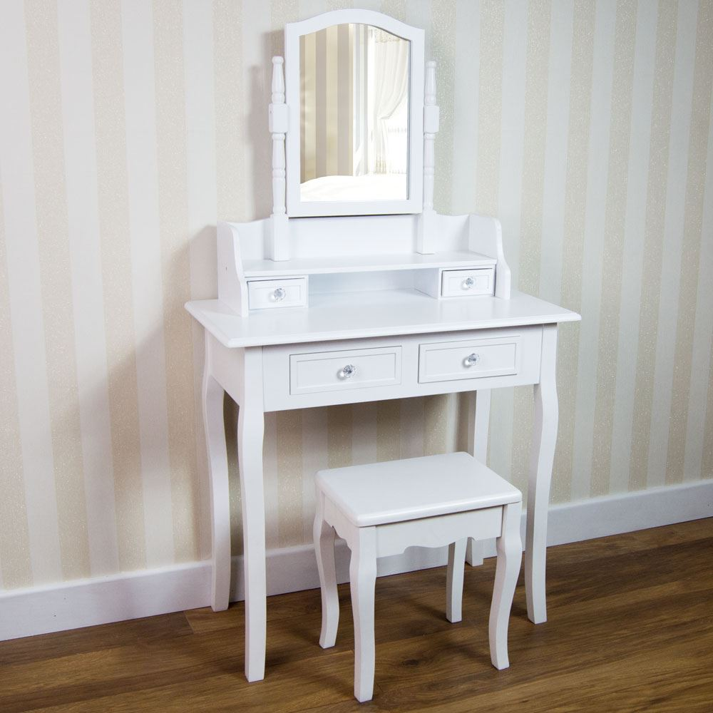 Nishano dressing table drawer stool mirror bedroom makeup for Vanity table with drawers no mirror