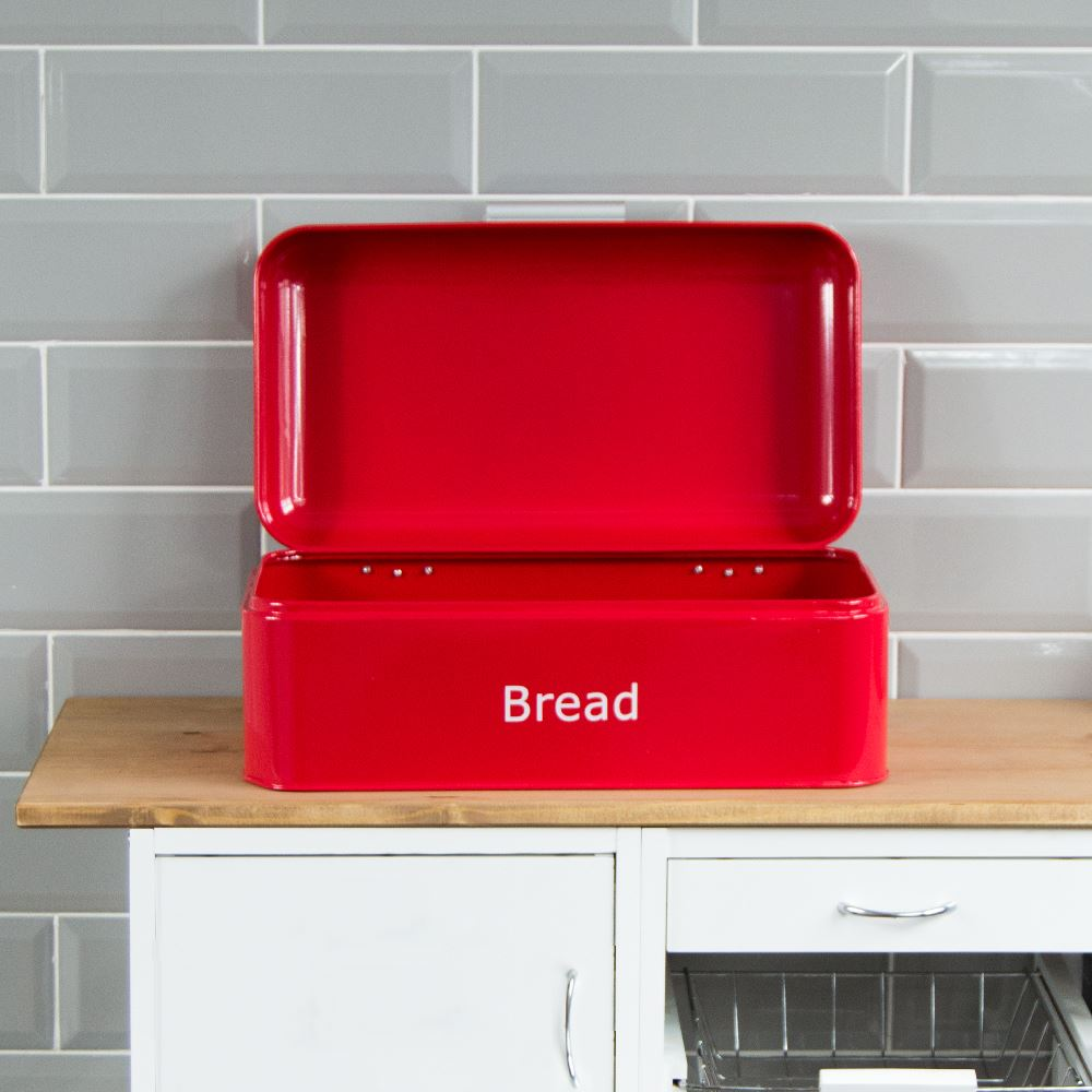 Curved-Bread-Bin-Steel-Kitchen-Top-Storage-Roll-Loaf-Box-New-By-Home-Discount thumbnail 20