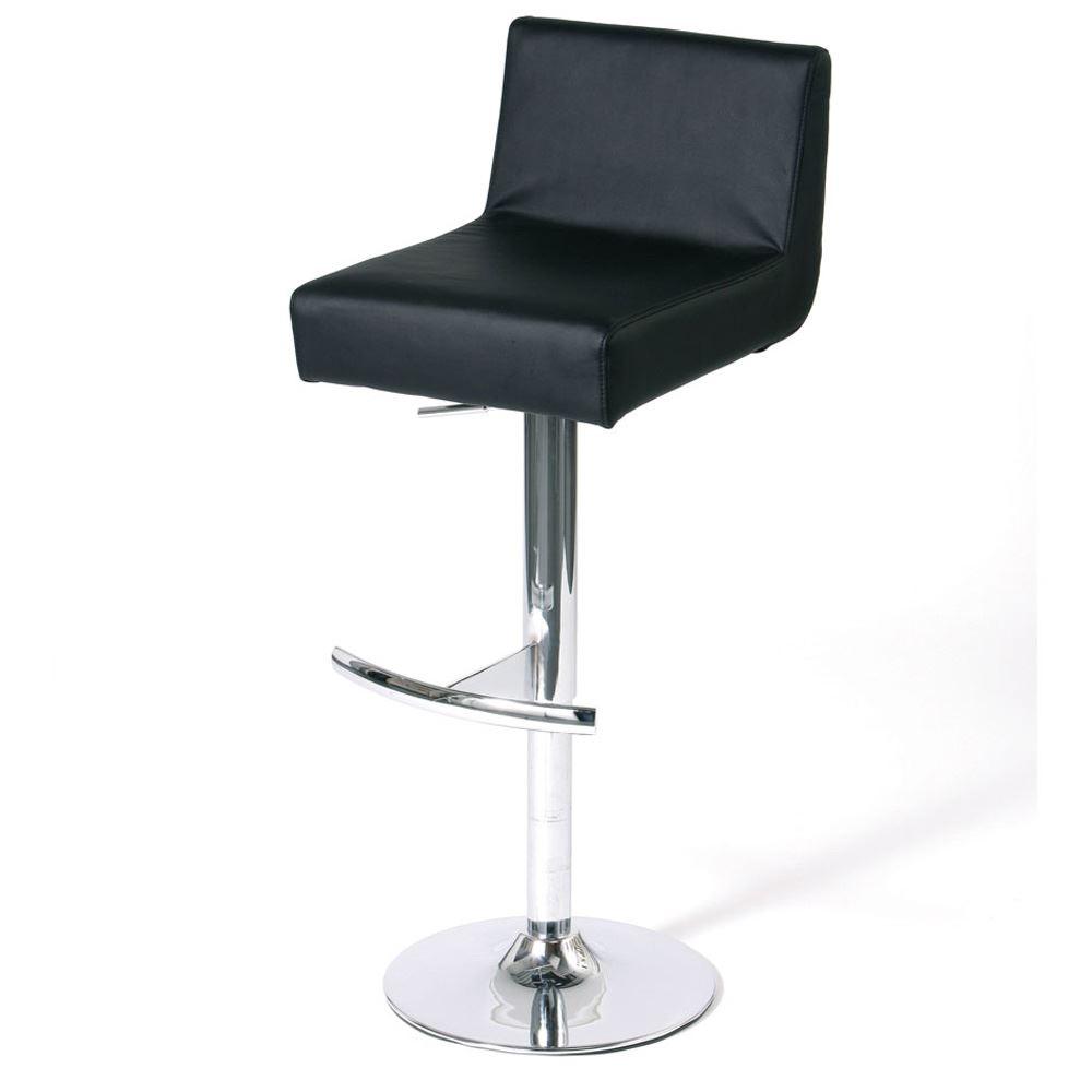 Bar Stool Low Back Footrest Adjustable Breakfast Chair