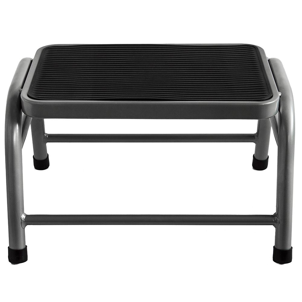 One Step Stool Compact White Black Silver Anti Slip Grip