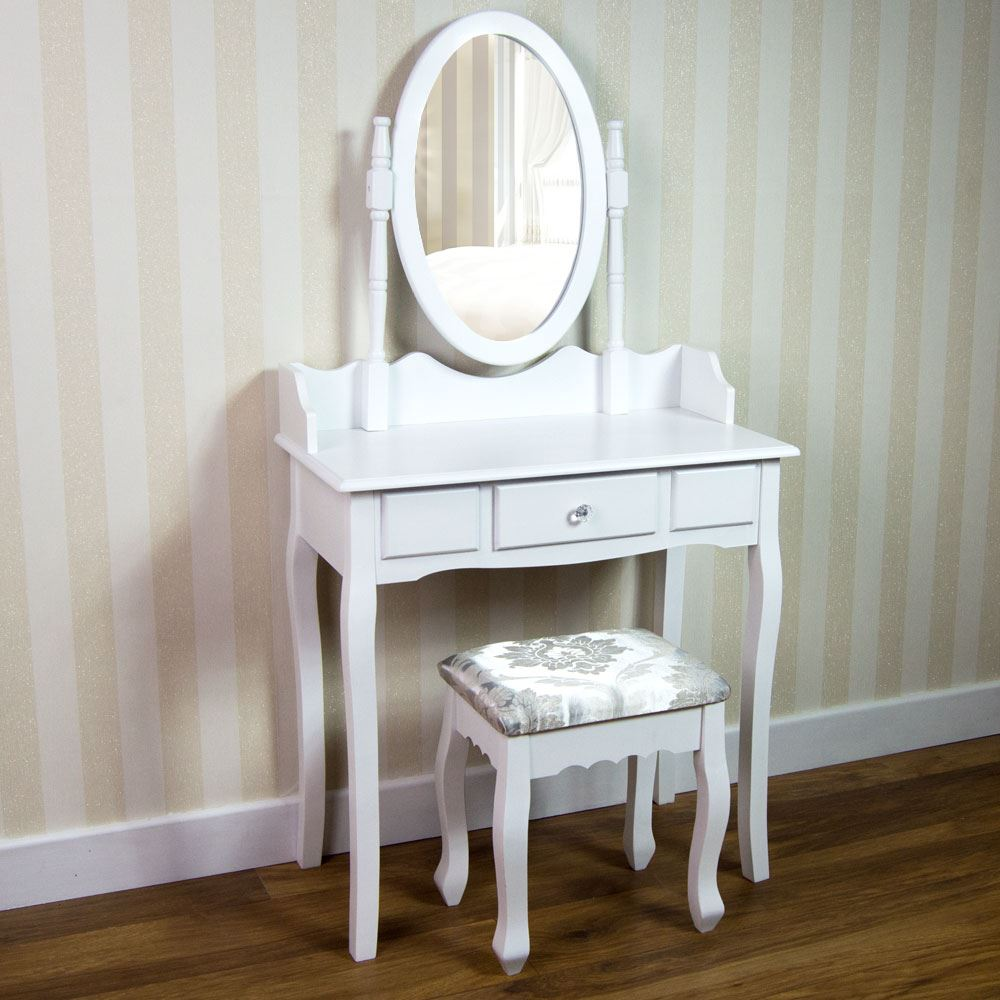 Nishano dressing table drawer stool adjustable mirror for White makeup desk with mirror