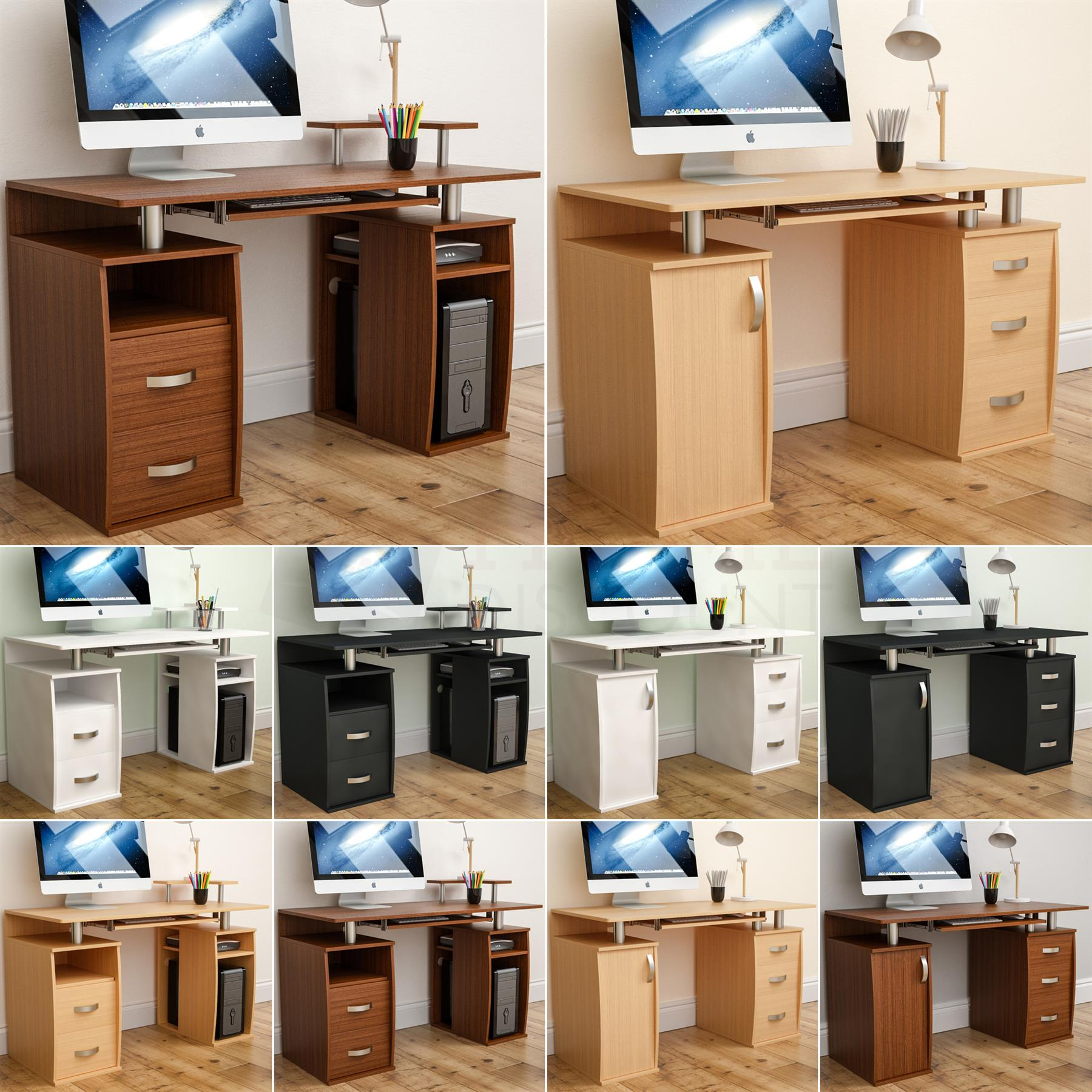 Otley Computer Desk 2 Drawer Laptop PC Table Home Office Study Workstation White
