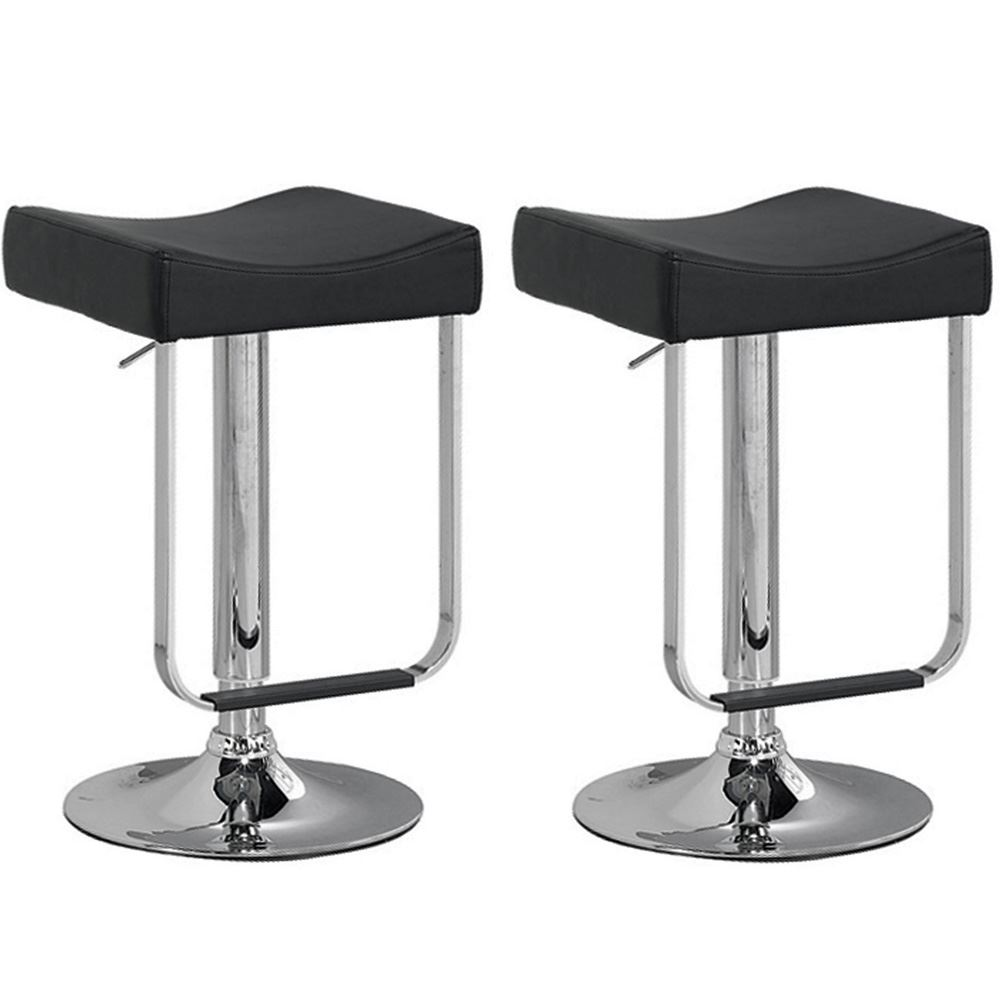 Black Kitchen Bar Stools Uk: Set Of 2 Bar Stools Breakfast Kitchen Seats Adjustable