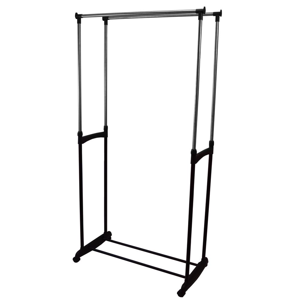 double garment rack adjustable portable clothes rail hanging stand silver ebay. Black Bedroom Furniture Sets. Home Design Ideas
