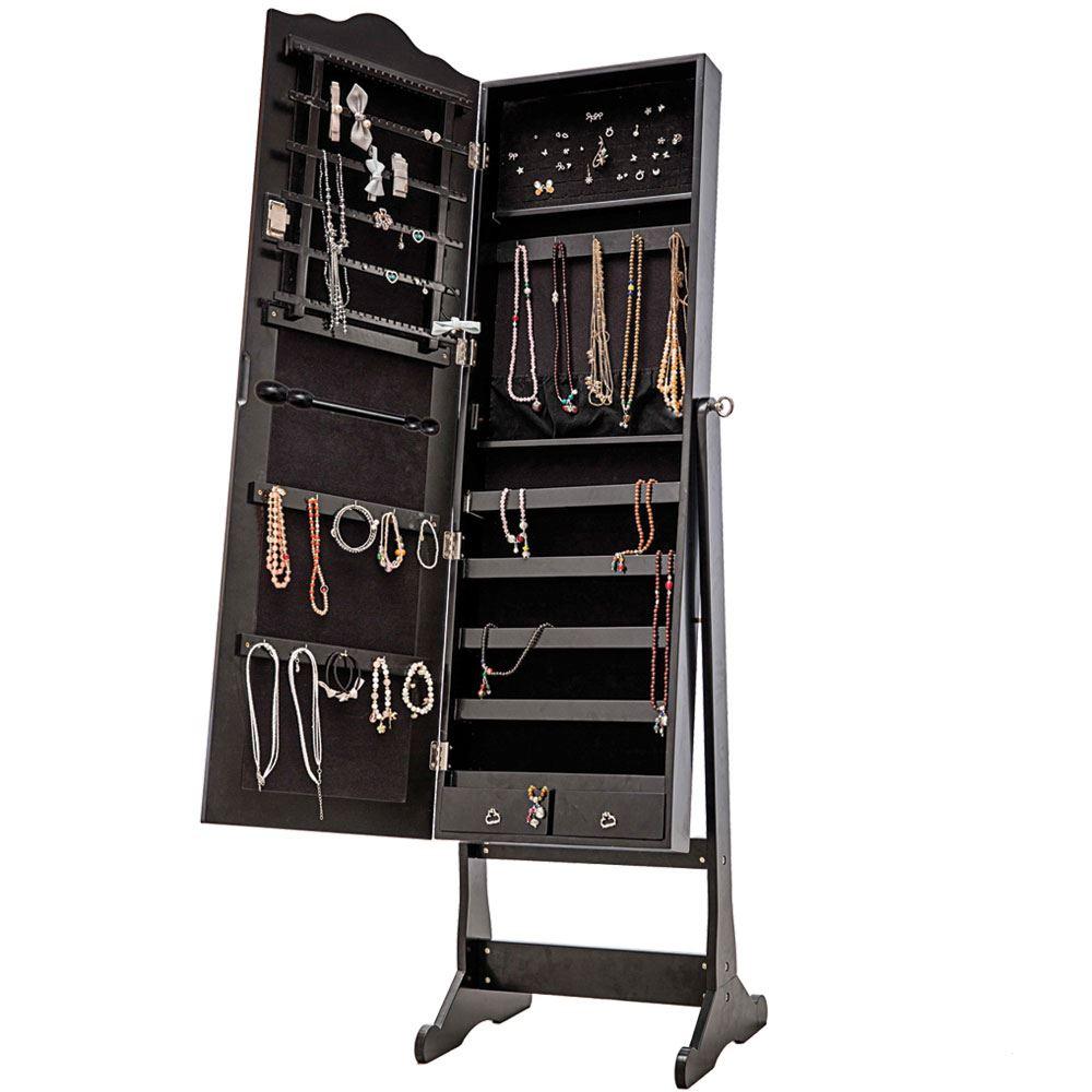 Jewellery Cabinet Storage Stand Mirror Free Standing