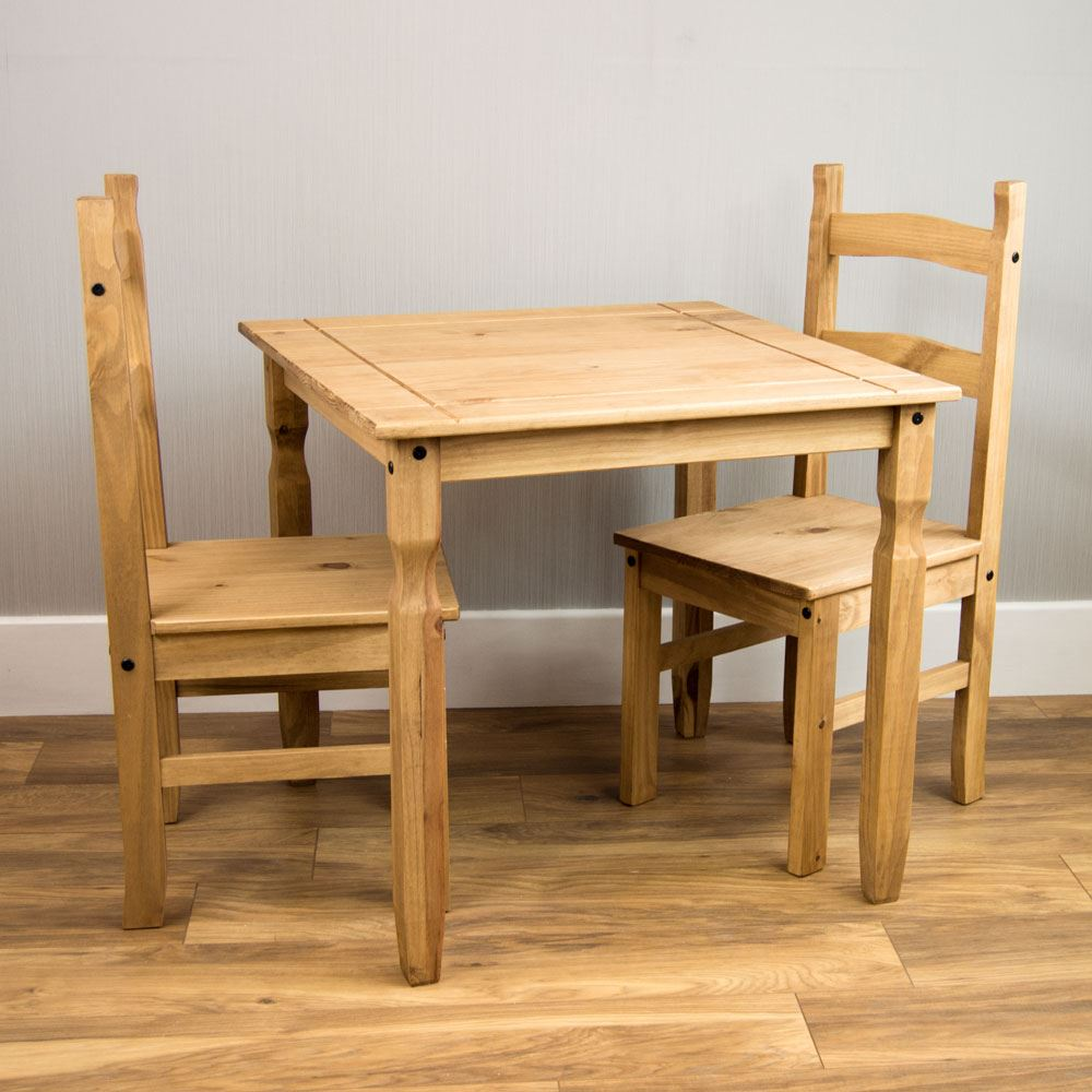Two Seat Dining Set: Corona Dining Set 2 Seater Chairs Table Solid Pine Wood