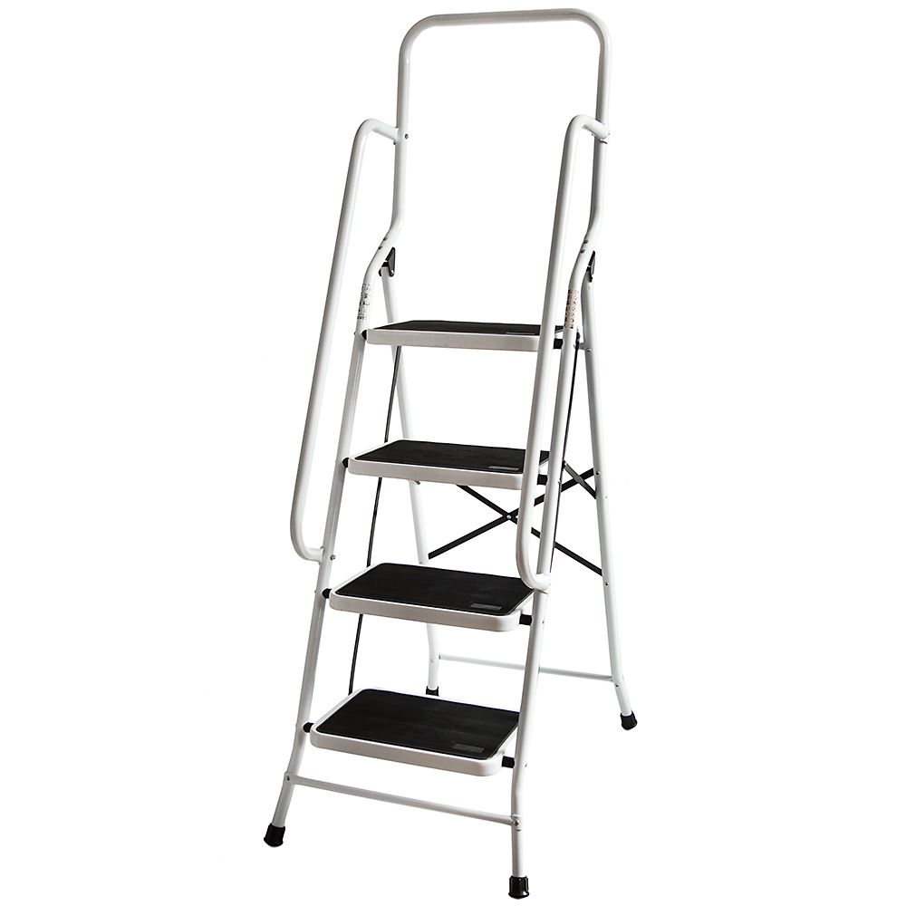 4 Step Ladder Handrail Non Slip Safety Tread Foldable Rail New By Home Discount 5055998401259 Ebay