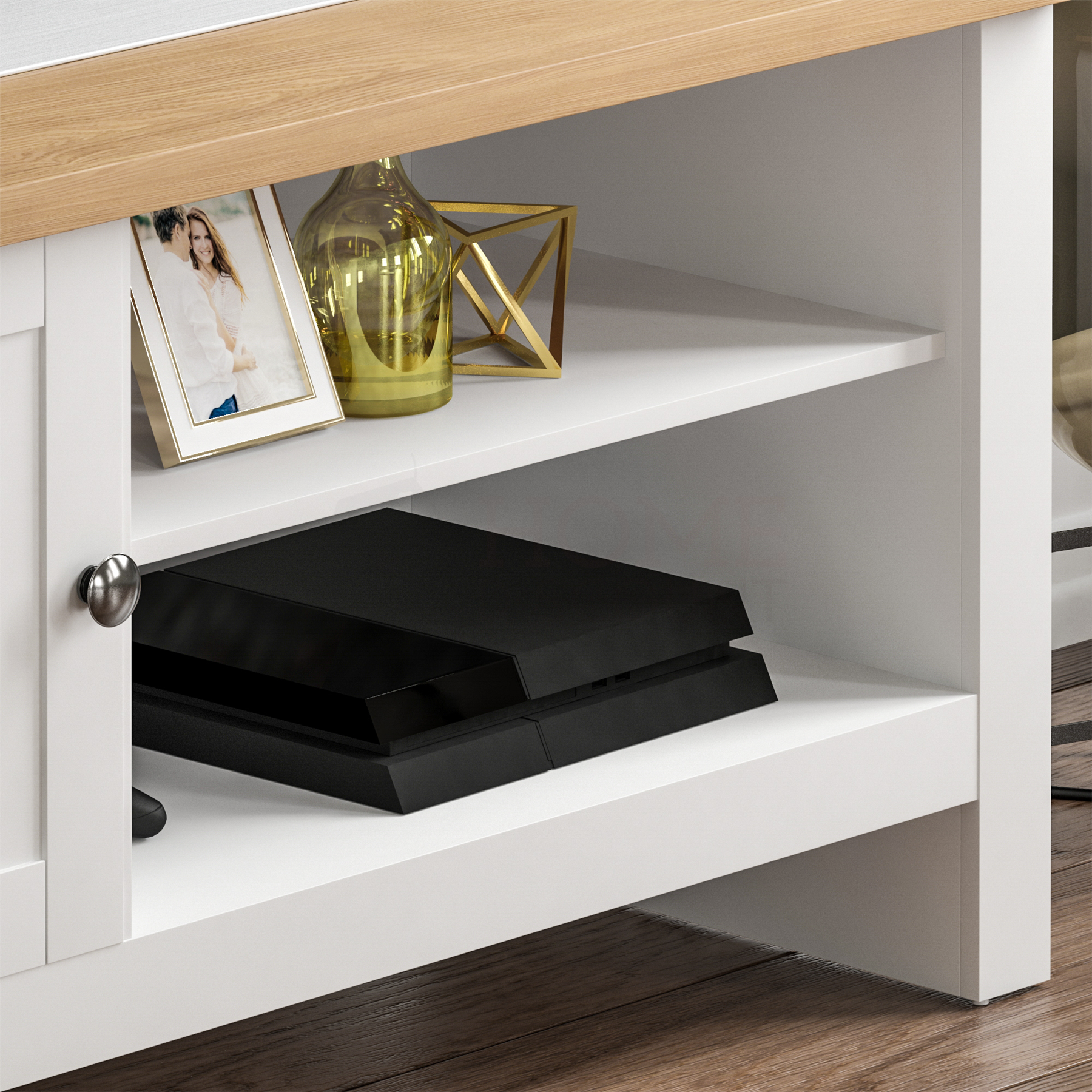 thumbnail 7 - Modern White TV Stand Cabinet LED Unit Matt body and High Gloss Doors  Lights