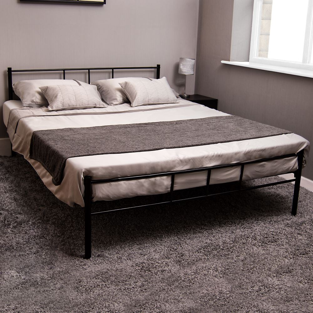 Dorset Single Double King Bed Metal Steel Frame Modern Bedroom Frame ...
