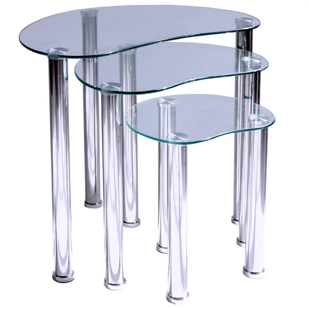 Cara nest of tables 3 units clear glass top end hallway - Glass side tables for living room uk ...