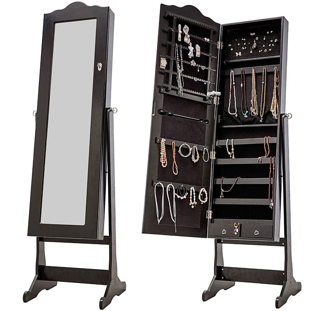 Charmant Nishano Jewellery Cabinet Storage Stand Mirror Free Standing