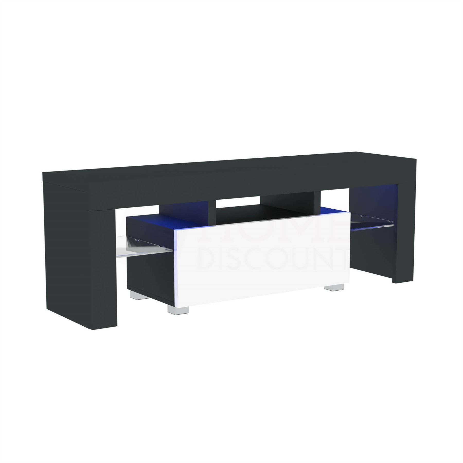 thumbnail 47 - LED TV Unit Modern White Black Walnut Stand 2 Drawer 2 Door Light System RGB MDF
