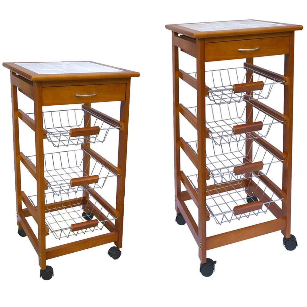 3 4 Tier Kitchen Trolley Brown Cart Basket Storage Drawer ...