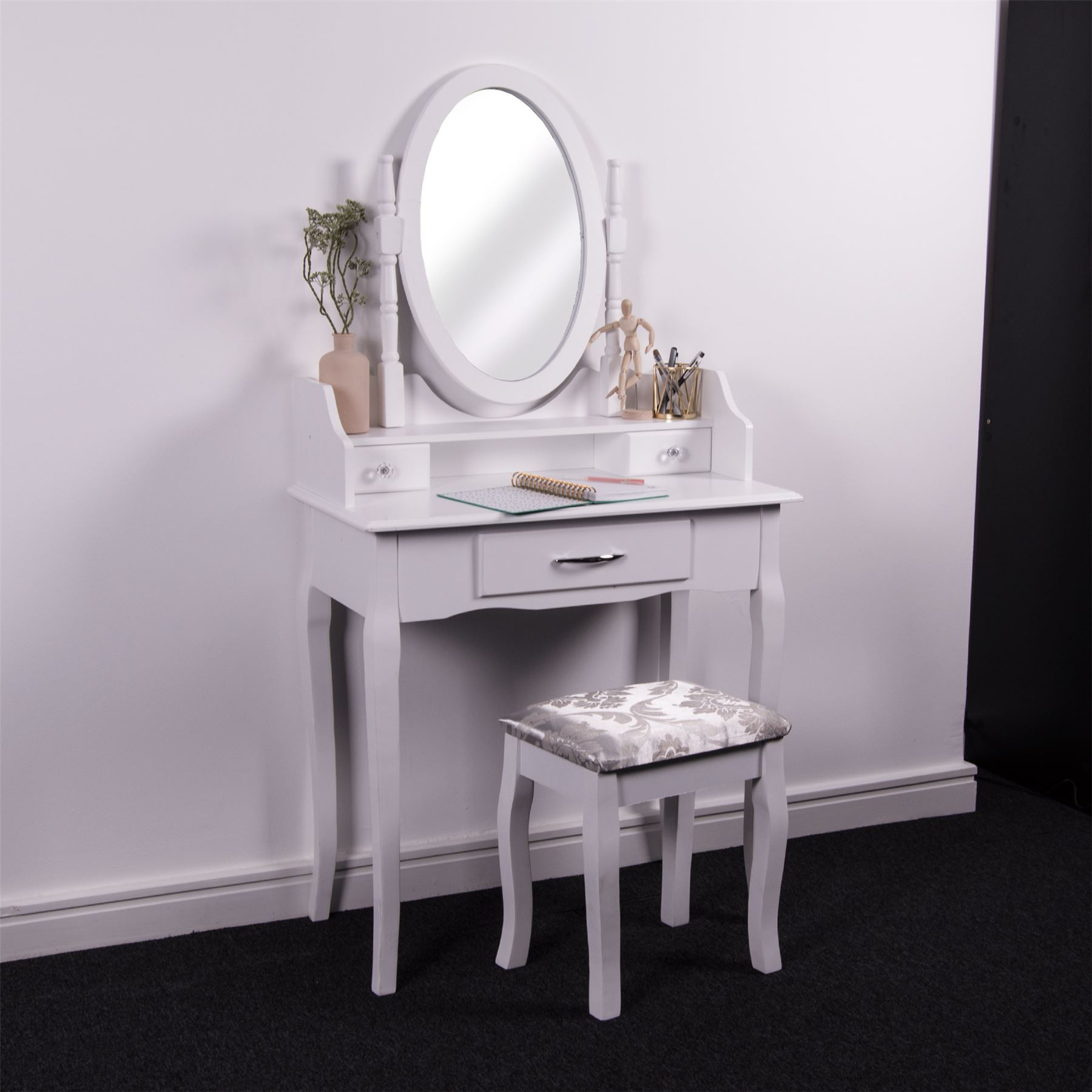 Nishano Dressing Table 3 Drawer White Makeup Vanity Mirror