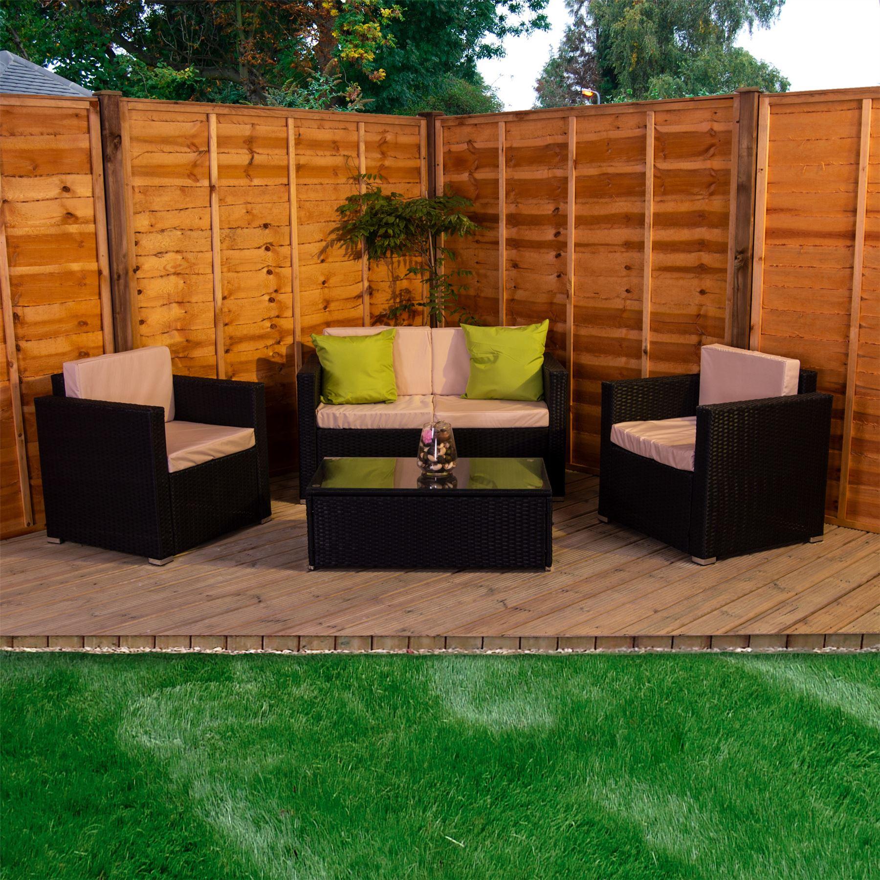 Alton Garden Rattan Furniture 4 Seater Set Black Brown ...
