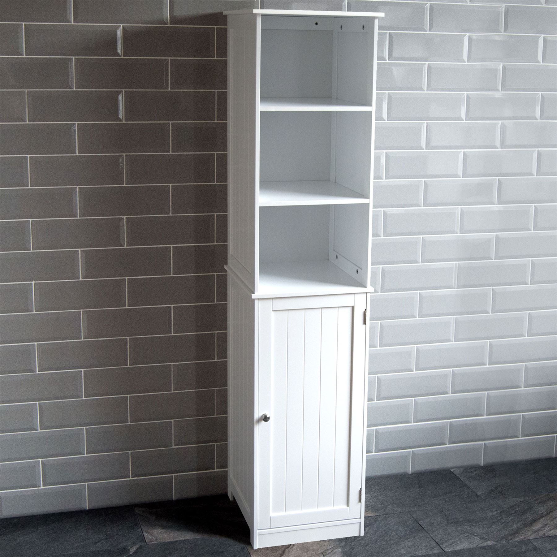 White Bathroom Furniture Storage Cupboard Cabinet Shelves: Priano Freestanding Bathroom Cabinet Unit White Vanity