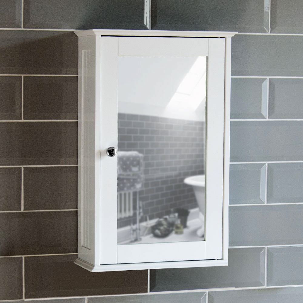 wall cabinet single mirrored 1 door cupboard storage mounted white rh ebay co uk White Deep Wall Cabinet for Bathroom solid wood white bathroom wall cabinet