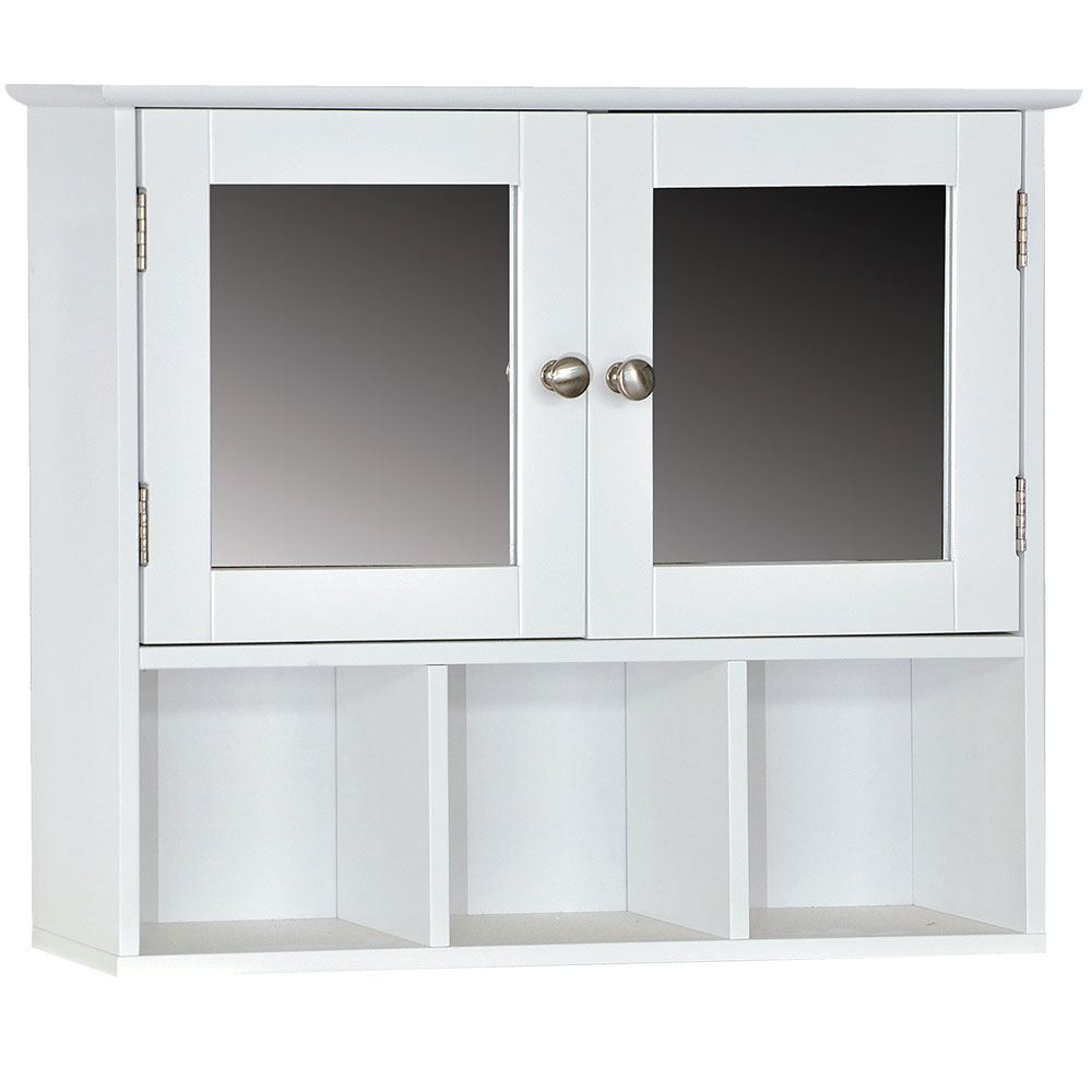 Single Hung Cabinets : Wall mounted cabinet bathroom white single double door
