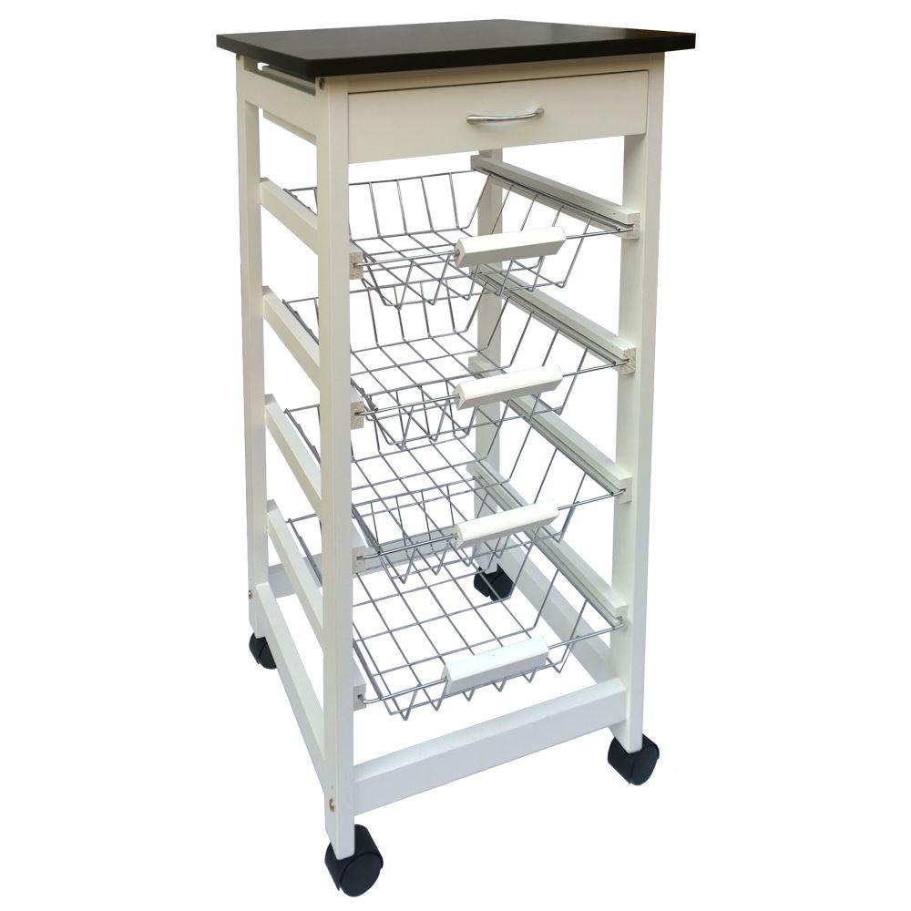 3 4 tier kitchen trolley white cart basket storage drawer tile top portable ebay. Black Bedroom Furniture Sets. Home Design Ideas