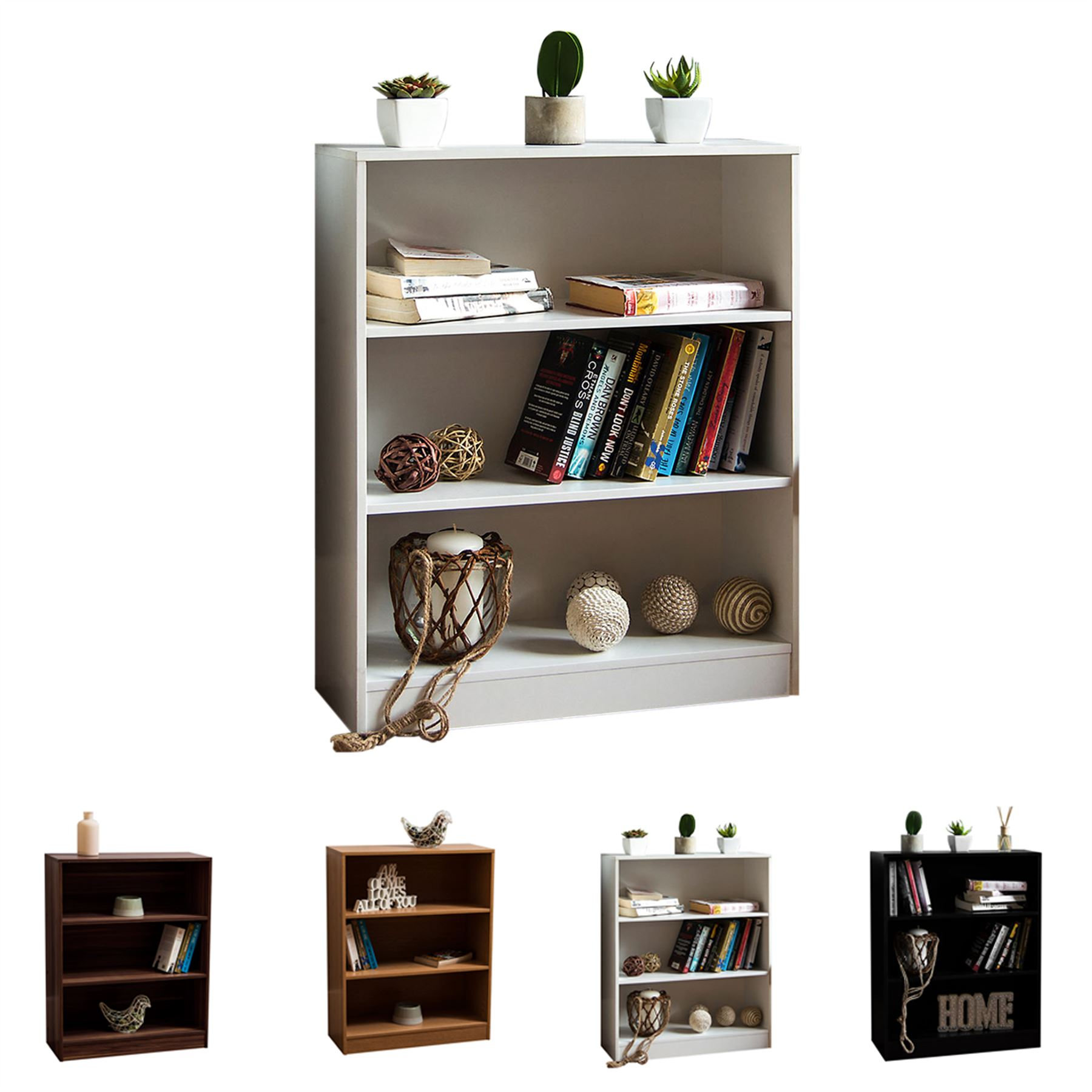Details About Cambridge 3 Tier Low Bookcase Display Shelving Storage Unit Wood Stand Shelves