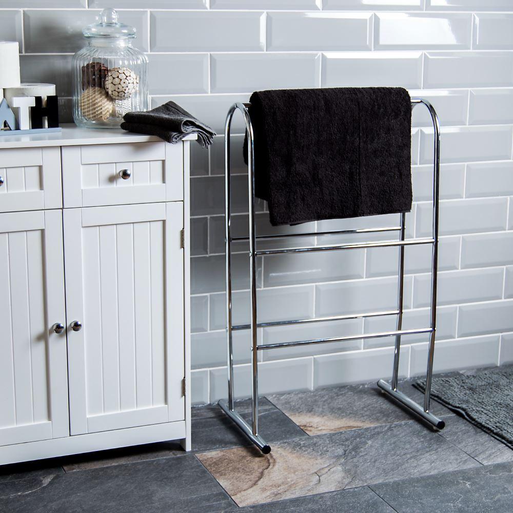 Bath Vida 3 Tier Standing Towel Rack - Chrome | eBay
