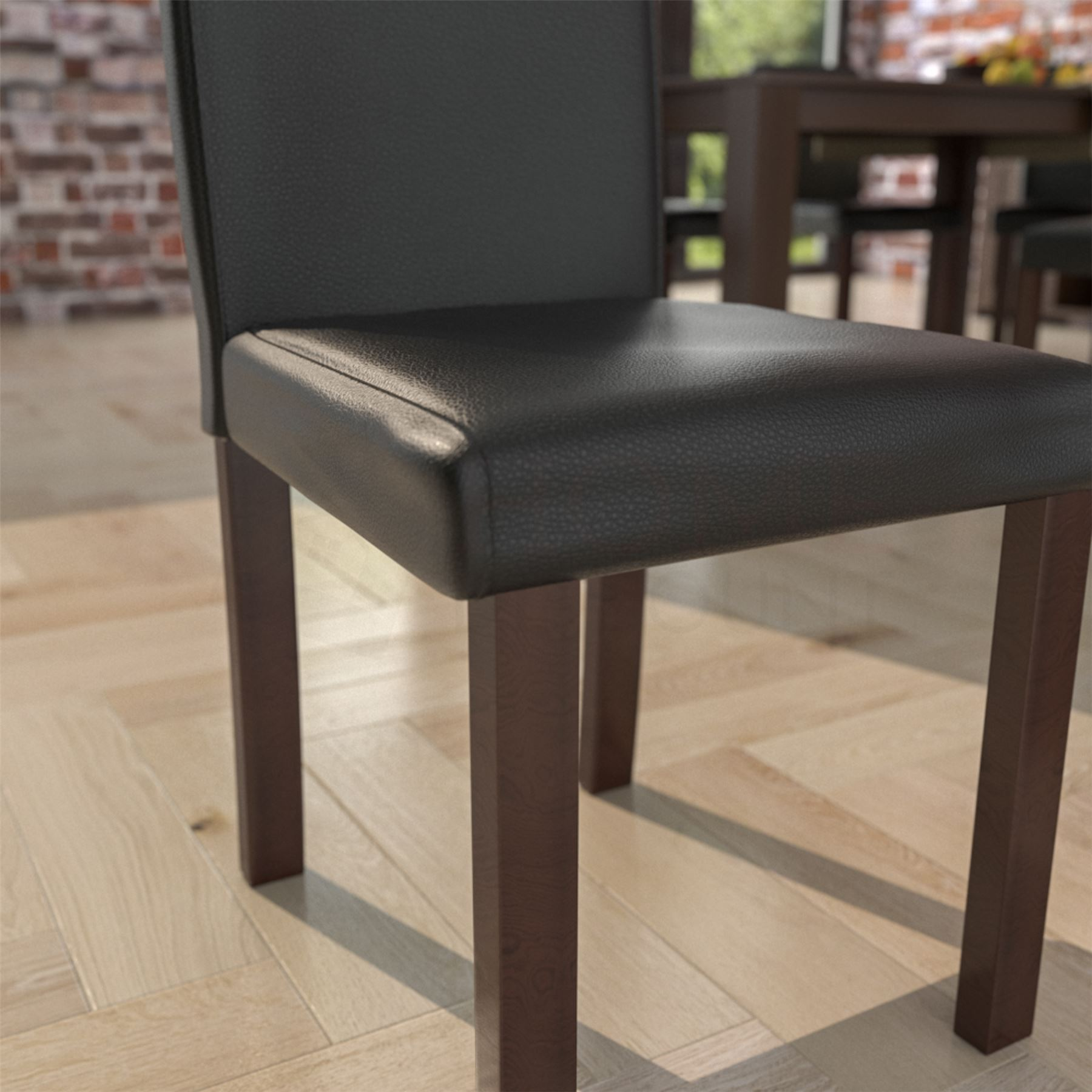 Dining Chairs Faux Leather Fabric Padded Seat Wood Roll ...