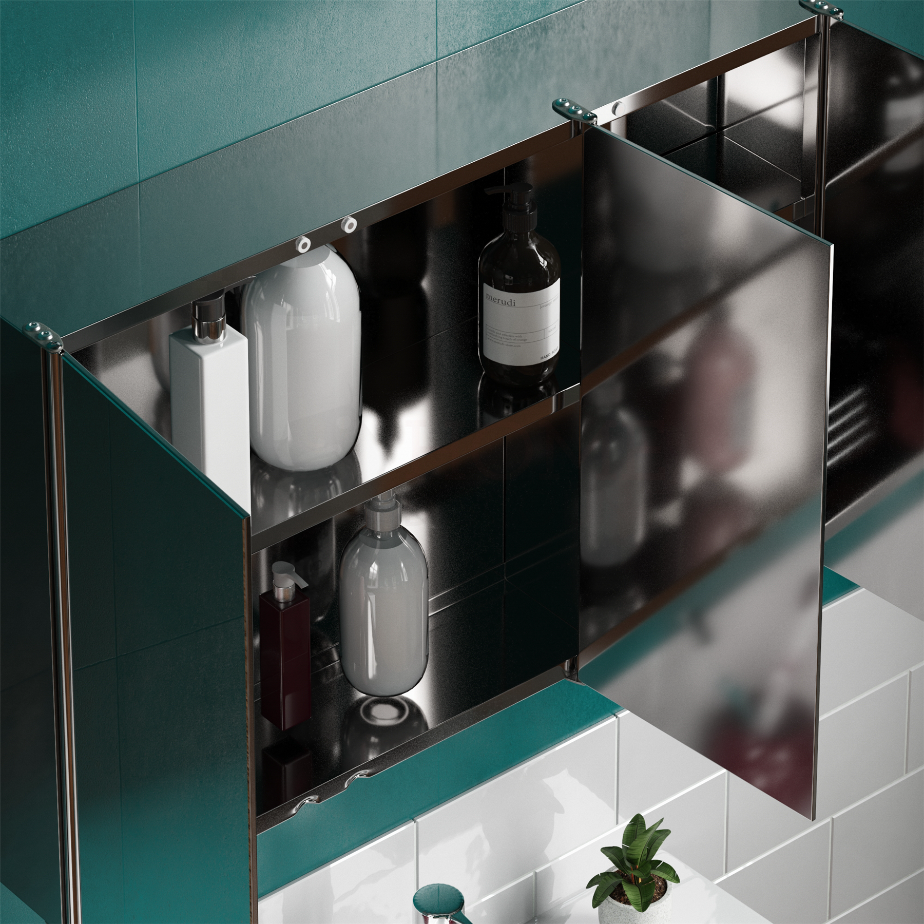 Bathroom-Cabinet-Double-Triple-Door-Wall-Mounted-Mirror-Storage-Stainless-Steel thumbnail 16