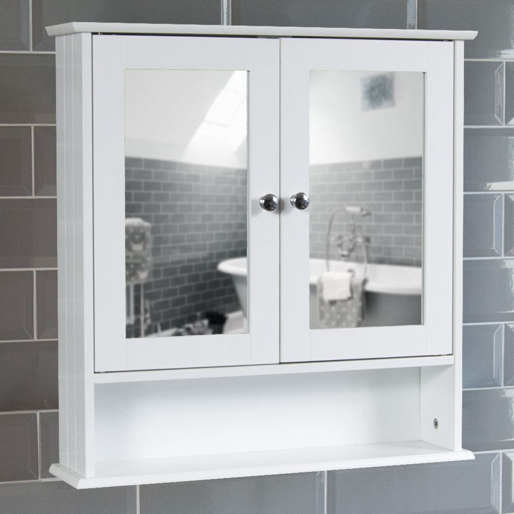 Mirrored bathroom cabinet double doors bath wall mounted - Wall mounted bathroom storage units ...