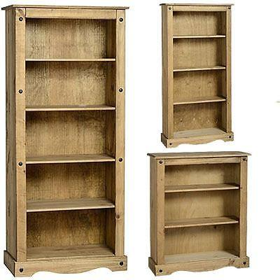 5 Shelf Mexican Solid Pine Wood Rustic Distressed Cabinet Corona Tall Bookcase