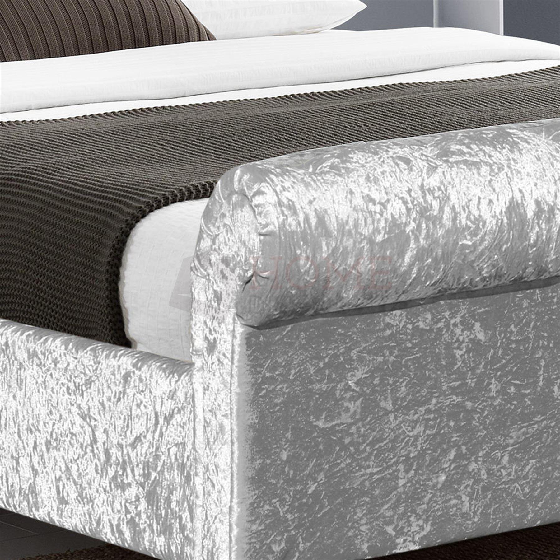 Fabric Double Bed Ottoman 4ft6 Upholstered Velvet Linen