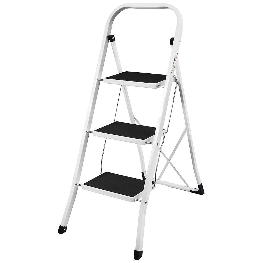 3 Step Ladder Anti Slip Mat Folding Iron Strong Safe Stool