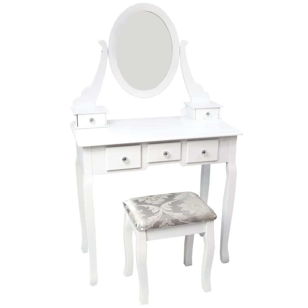 nishano dressing table 5 drawer stool white mirror bedroom