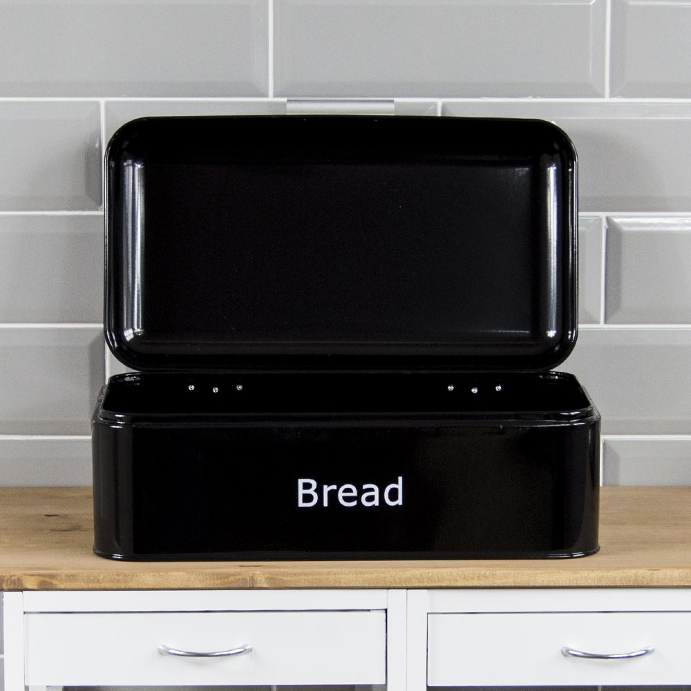 Curved-Bread-Bin-Steel-Kitchen-Top-Storage-Roll-Loaf-Box-New-By-Home-Discount thumbnail 5